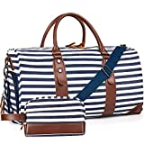 Oflamn Weekender Bags Canvas Leather Duffle Bag Overnight Travel Carry On Tote Bag with Shoe Pouch (Blue/White Striped)