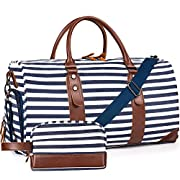Oflamn 21″ Weekender Bags Canvas Leather Duffle Bag Overnight Travel Carry On Tote Bag with Luggage Sleeve (Blue/White Striped)