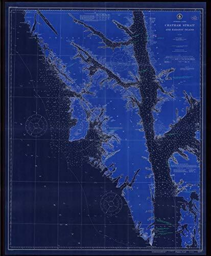 (Vintography NOAA Blueprint Style 18 x 24 Nautical Chart Chatham Strait and Baranof Island 1916 US Coast Geodetic Survey 26a)
