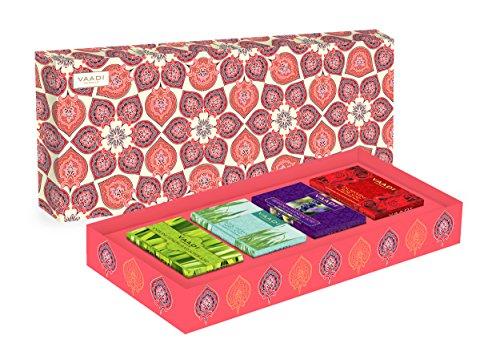 Exotic Fragrance Collection - 4 Premium Herbal Handmade Bar Soap Gift Box Set - 4 X 75 gms - 10.6 Ounces - Vaadi Herbals