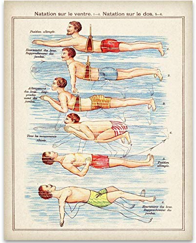 French Swimming Lessons Graphic - 11x14 Unframed Art Print - Great Resort/Pool Side Decor with a Vintage Touch, Also Makes a Great Gift Under -