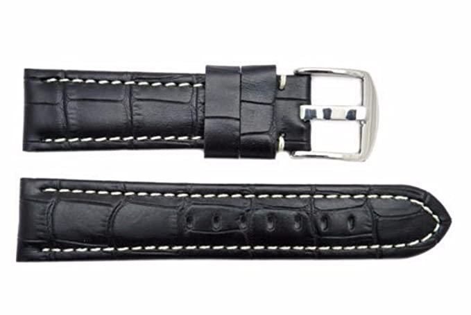 ca5a823d5 Image Unavailable. Image not available for. Color: Crocodile Grain 22mm  Genuine Leather Watch Band, Black, White Stitched ...