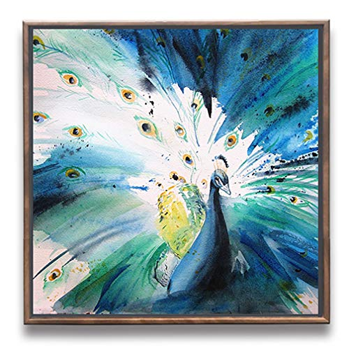 Sumeru Animals Canvas Wall Art Paintings Abstract Peacock Artworks for Home Living Bedroom Office Decoration,1 Piece, 12x12 inch, Stretched and Framed
