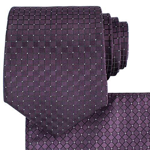 KissTies Plum Necktie Set Wedding Tie And Pocket Square + Gift ()