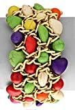 Bright Multi-Color Chunky Bead and Gold-Tone Chain Stretch Bangle Bracelet, 1 ¼ Inch Wide