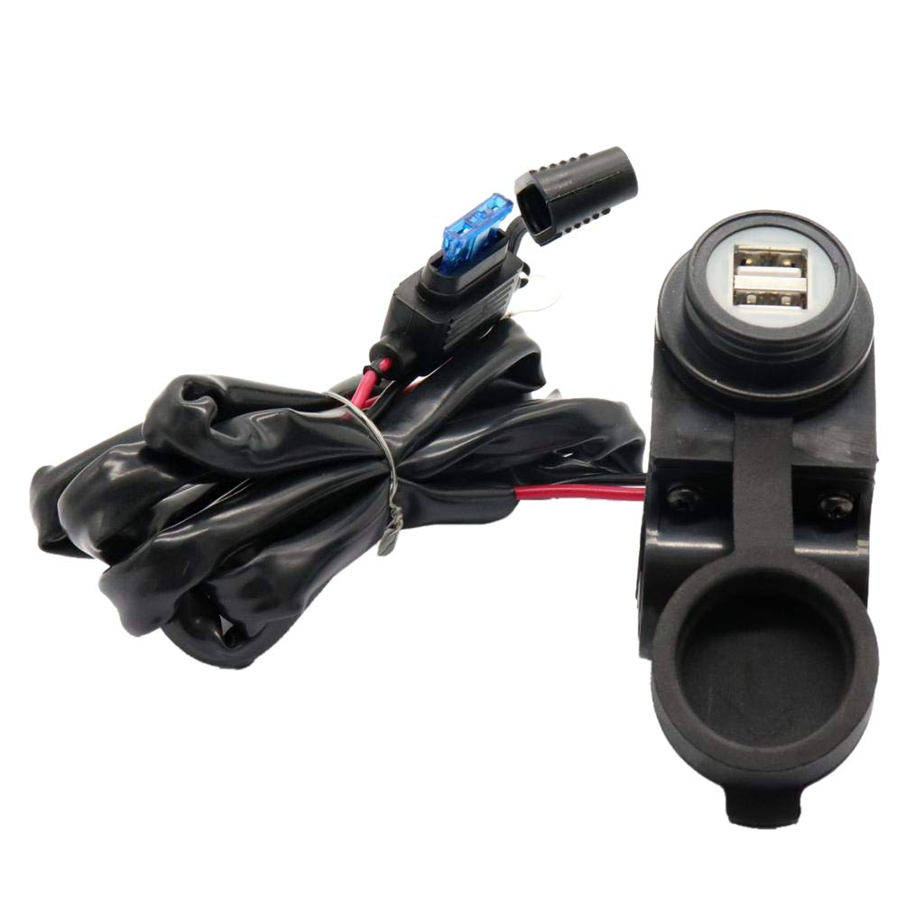 Flameer 2 Port USB Car Charger Adapter Motorcycle Plug with LED Indicator Waterproof by Flameer