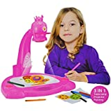 Smart Projector Painting 3-in-1 art set for kids ages 3+ Kids Draw and learn with table lamp, projection and painting includes 3 lantern slides, 6 water pens and 21 patterns.