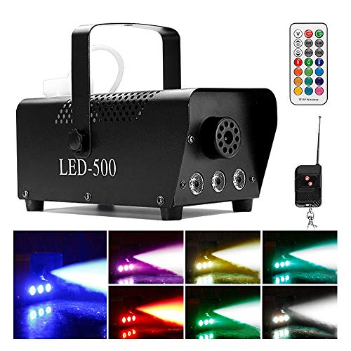[2019 UPGRADED] Smoke Machine w/Lights, softeen 500W Party Fog Machine w/ 2 Wireless Remote Controls, Fogging Machine w/Colorful LED Light Effect for Holidays Parties Weddings Christmas Halloween -