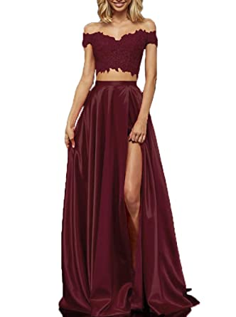 Lace Satin Prom Dresses with Slit Long Two Piece Off Shoulder Formal  Evening Gown for Juniors 83733fba0