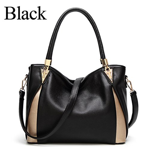 For Leather Handbags Black Bags Tote Hand Bag Shoulder Women Women Bags Handbag SqwzwdRg