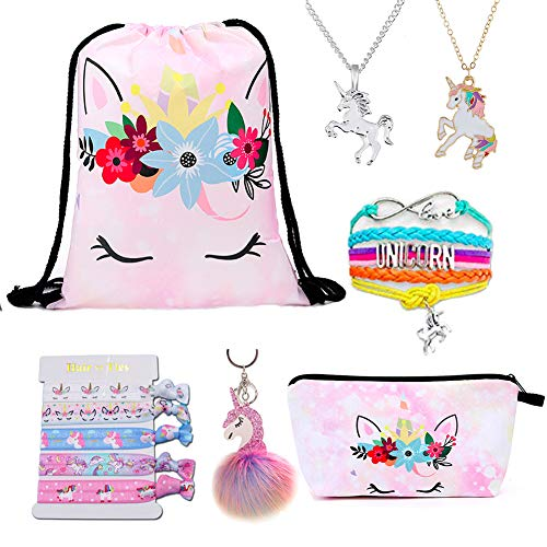 DANUC Unicorn Drawstring Backpack For Girls Makeup Bag/Bracelet/Necklace/Hair Ties/Keychain For Kids Women