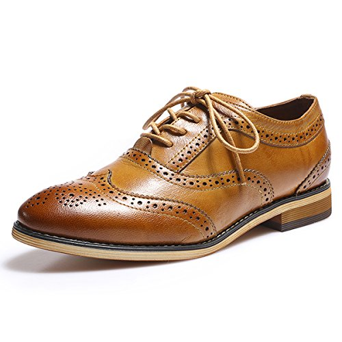 f5c9c87005d516 Mona Flying Women s Leather Perforated Lace-up Oxfords Brogue Wingtip Derby  Shoes