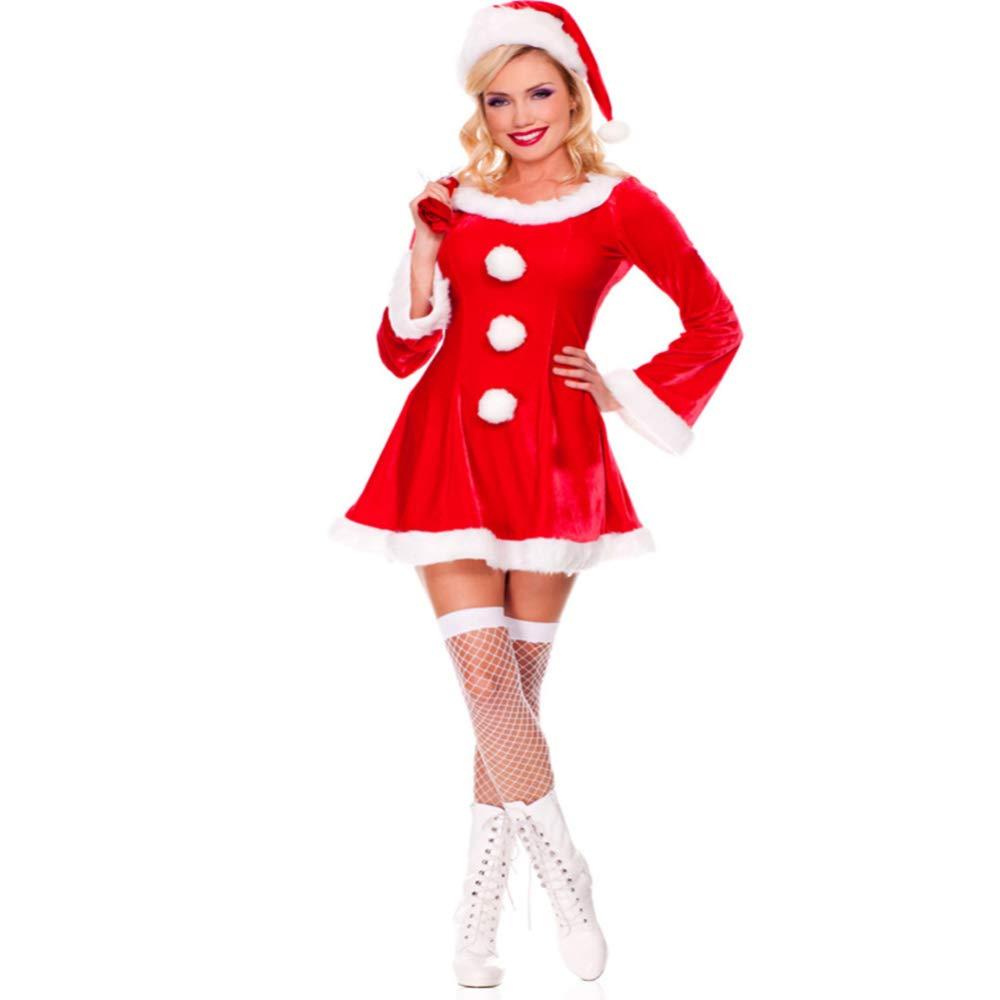 CVCCV Sexy rotes Weihnachtsuniform Jahr-Partei COS-Leistungs-Kostüm-Polyester-Gewebe für Frauen