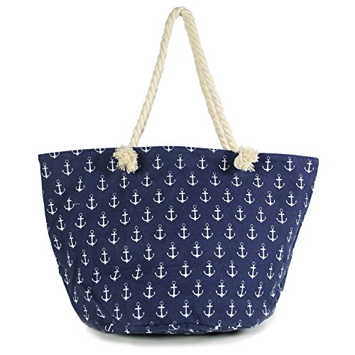 (by you Anchor Print Large Beach Tote Shopping Bag Zipper Closure Strong Handles with Inner Pocket (Mini Anchor - Navy))