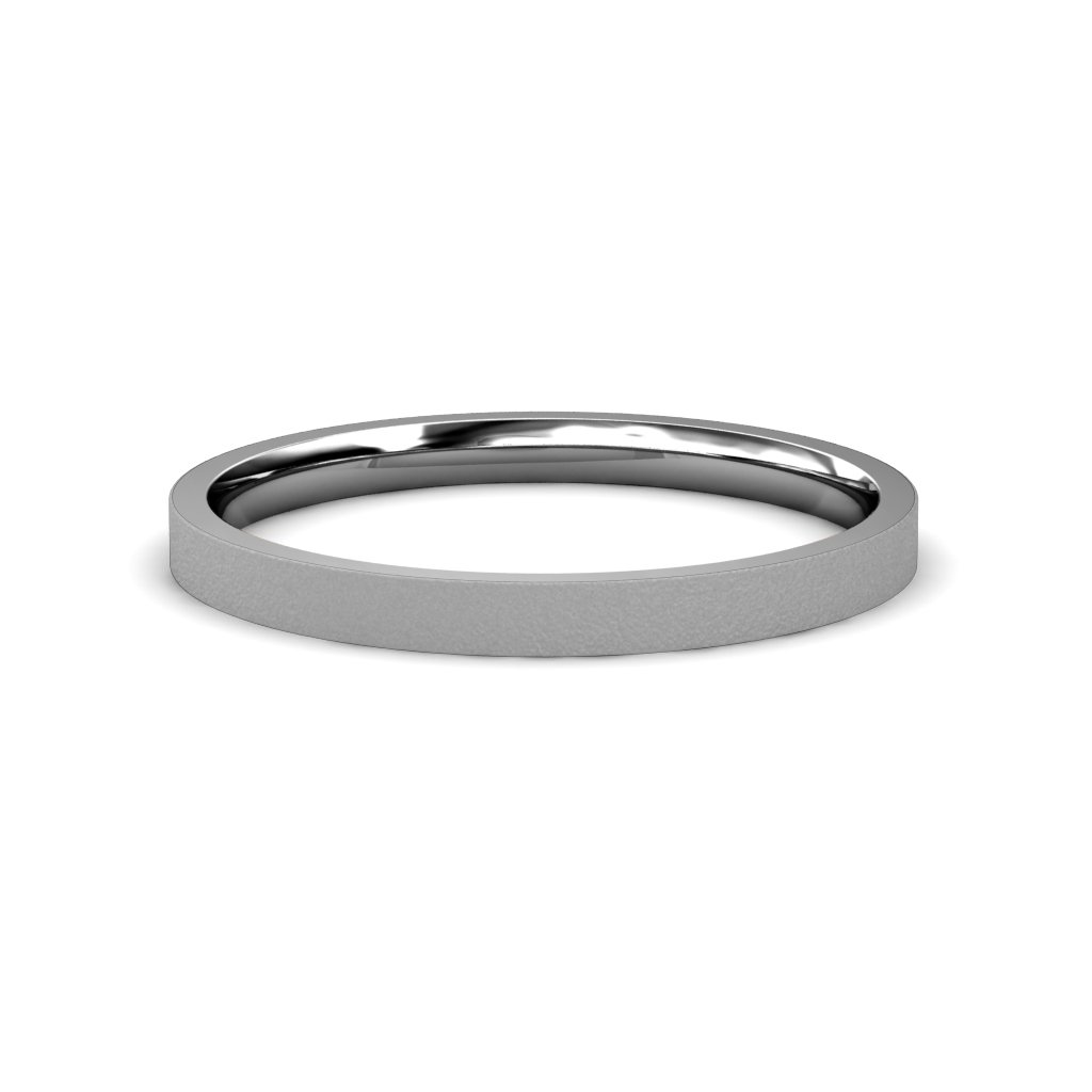 Glass Finish 2mm Flat Comfort Fit Wedding Band in 14K White Gold.Size 14.75 by TriJewels
