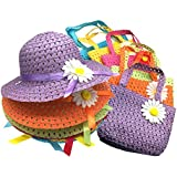 Jund - Sunflower Straw Girls Tea Party Sun Hat and Purse Sets. Includes 6 Purses & 6 Daisy Flower Sunhats(Assorted Colors)