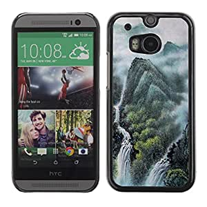 Slim Protector Shell Hard Case Cover for HTC One M8 Chinese landscape painting / STRONG