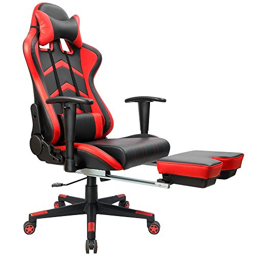 Furmax Gaming Chair High Back Racing Chair, Ergonomic Swivel Computer Chair Executive PU Leather Desk Chair With Footrest, Bucket Seat and Lumbar Support (Red)