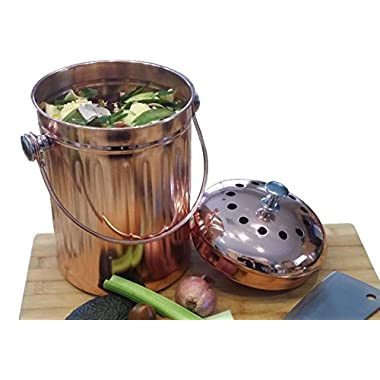 Copper Countertop Compost Bin Crock Bucket for Indoor Kitchen Use - Copper Coated Stainless Steel Pail 1 Gallon - BONUS Includes 2 Sets of DUAL Charcoal Filters