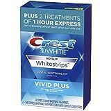 Crest 3D White Whitestrips Vivid Plus Teeth Whitening Kit, 24 Individual Strips (10 Vivid Plus Treatments + 2 1hr Express Treatments), Basic