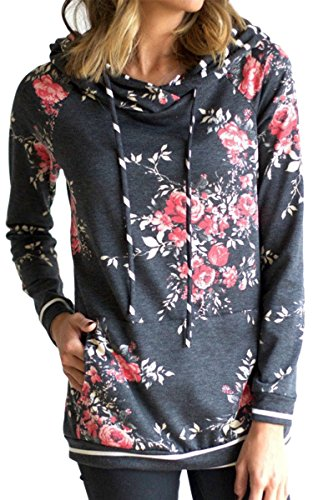 Angashion Women Hoodies-Tops- Floral Printed Long Sleeve Pocket Drawstring Sweatshirt With Pocket,Dark Grey 1,US 10/Tag ()