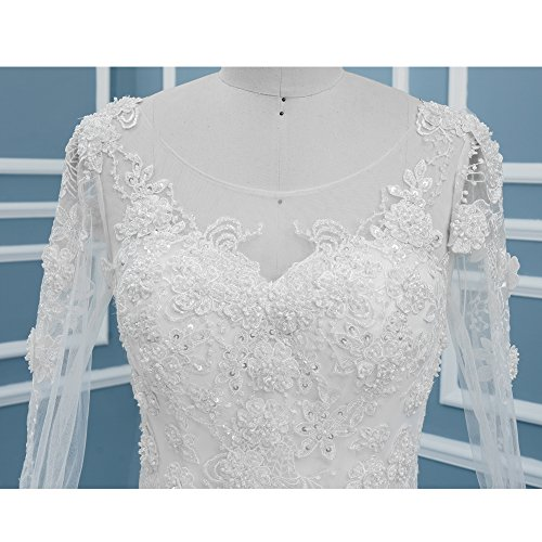 Gowns BiYiGe Women's Long Gowns Dresses Ball Sleeves S3361 Lace Wedding Bridal SSxwTrq