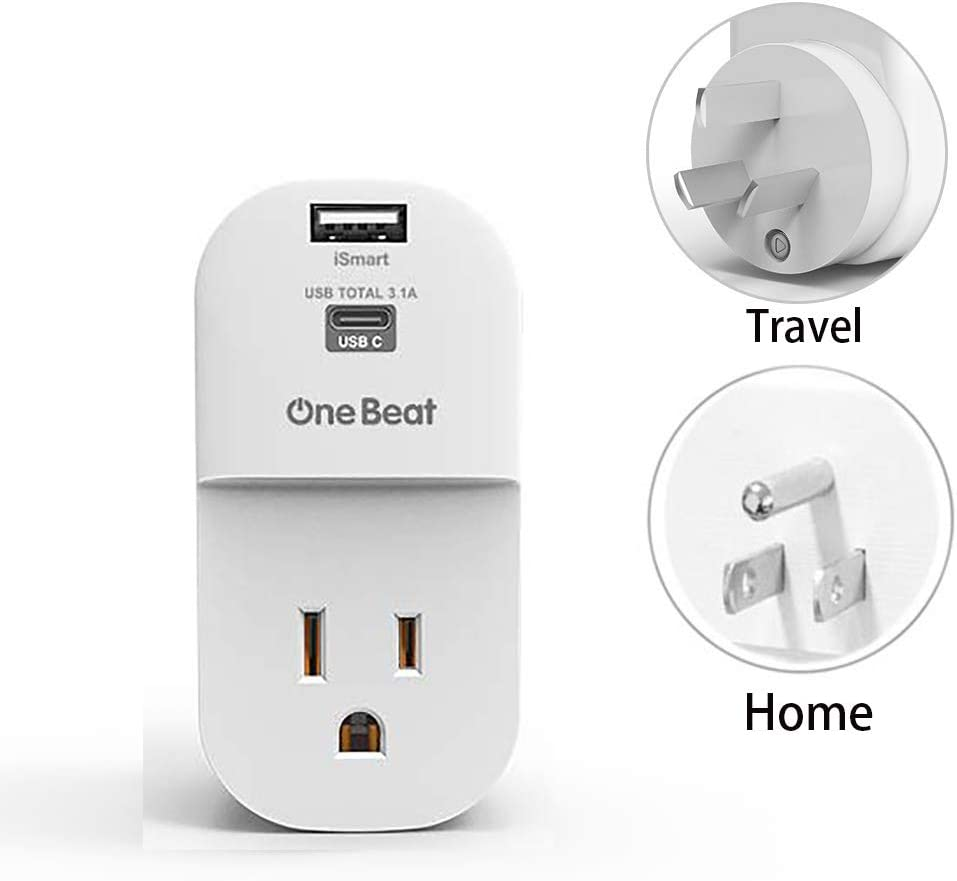 China,Type i, Argentina, Fiji, NZ, AU travel plug adapter, with outlet & USB C charger USB port quick charger. US to Australia, New Zealand power adapter, An extra USA plug for travel or home
