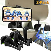 2 Pack Manfiter 3-in-1 Universal Vehicle Car Headrest with Lock and Phone Bracket for Holding Phones and Hanging Bag, Grocery (Black)