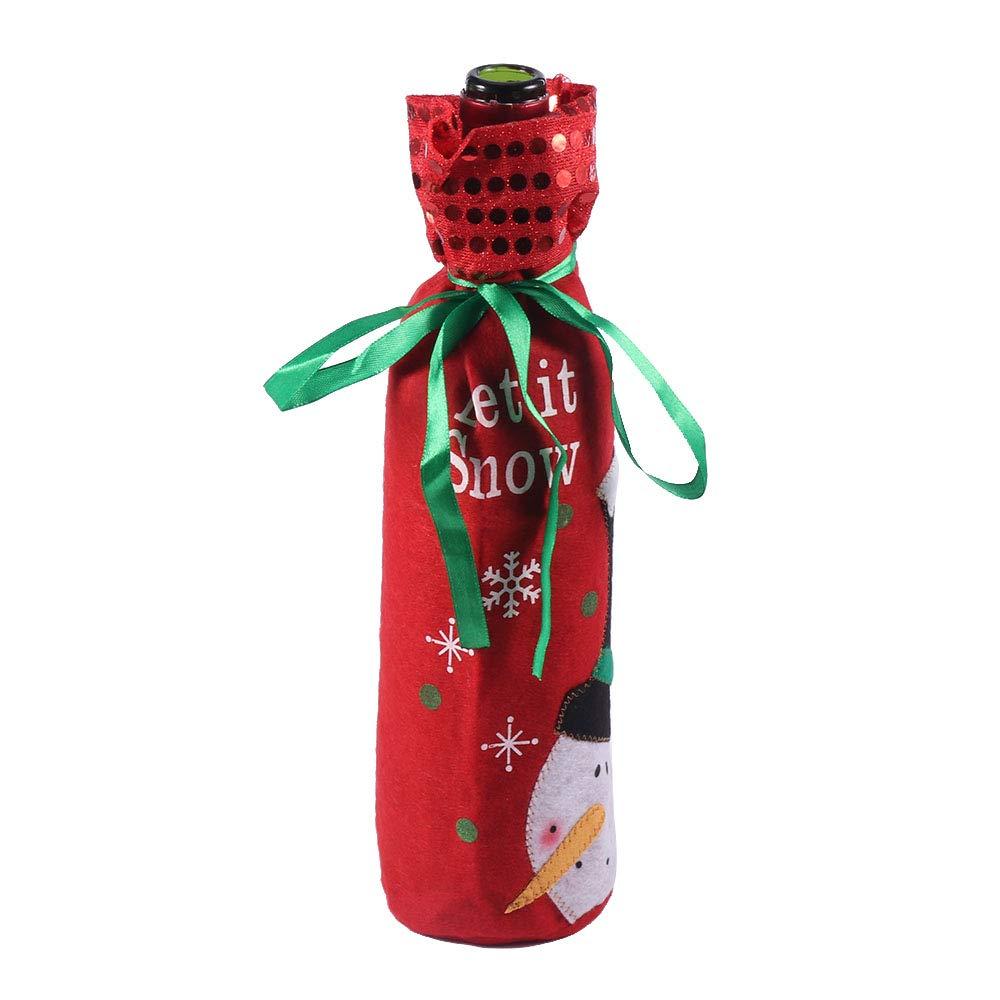 Konesky Copri Bottiglia di Vino Christmas Christman Xmas Wine Bottle Bags Tavolo da Pranzo Ornamenti per la Decorazione del Partito