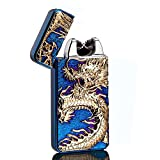USB Rechargeable Windproof Electric Plasma Arc Cigarette Lighter Oiikury Engraved Lighters Chinese Dragon(Blue ice)