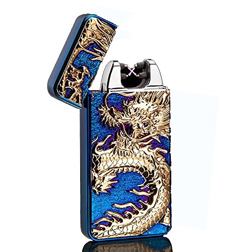 OIIKURY USB Rechargeable Windproof Electric Plasma Arc Cigarette Lighter Engraved Lighters Chinese Dragon(Blue ice)