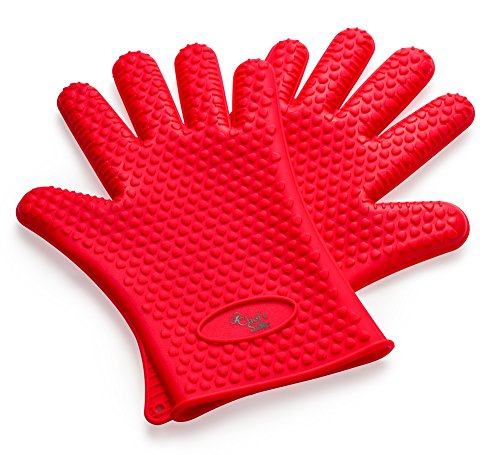 Chef's Star Cooking Gloves Germ & Heat Resistant, Sure Grip Silicone, BBQ Safe, Waterproof, Dishwasher Safe (Red) (Gecko Silicone Gloves)