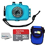 Intova Duo Waterproof HD POV Sports Video Action Camera With Compact Case + 32GB microSDHC UHS-I Card with Adapter + Clean Cloth (Aqua)
