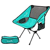 Greatiem Folding Camping Chair Portable Lightweight Backpack Chairs Compact Heavy Duty Carry Bag Hiking Picnic Beach Camp Backpacking Outdoor Festivals (Cyan)
