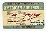 1940 American Airlines Information & Reservations Card with Route Map