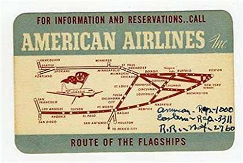 1940 American Airlines Information   Reservations Card With Route Map