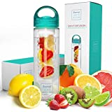 Savvy Infusion Water Bottles - Fruit Infuser Bottle with Unique Leak Proof Silicone Sealed Cap - Perfect for Runs, Walks…