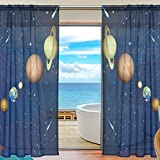 La Random Solar System In Galaxy Window Sheer Curtains for Living Room Bedroom Kids Room Polyester 55x84 Inches Two Panels