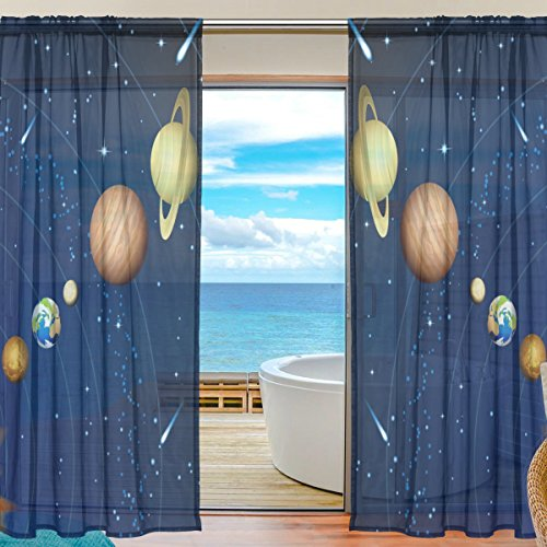 La Random Solar System In Galaxy Window Sheer Curtains for Living Room Bedroom Kids Room Polyester 55x84 Inches Two Panels by ALAZA