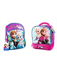 Disney Frozen Backpack Princess Elsa & Anna 16 with a Lunch Bag 9.5 Set