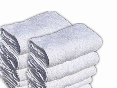 GOLD TEXTILES 12 Pack White Economy Bath Towel  100% Cotton
