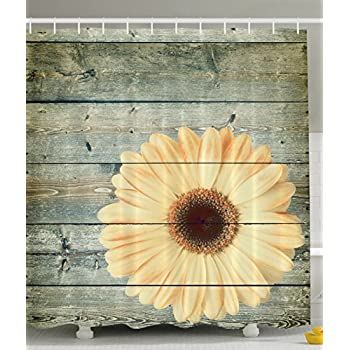 Ambesonne Abstract Oak Tree Wood and Daisy Gerbera Flower Polyester Shower Curtain with Hooks, Green / Yellow