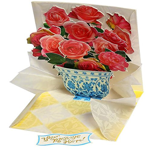 3D Pop-Up Greeting Card W/ Mailing Envelope– Premium Pop Out Greeting Card To Express Your Love- Best Original, Impressive Design Popup Card To Celebrate W/ Friends & Family- Flowers in a Pot 1 (Greeting Flower Pot)