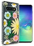 CoverON Samsung Galaxy S10 Flower Case, Real Flowers Handmade Pressed Slim TPU Phone Case with Silver Glitter for Women and Girls for Samsung Galaxy S10 - Yellow Floral Arrangement