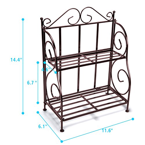 Bathroom Countertop Organizer, F-color 2 Tier Foldable Kitchen Spice Rack Counter Storage Shelf Organizer, Bronze by F-color (Image #5)