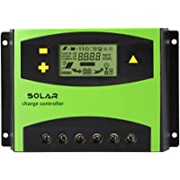 YONGCHY Controlador De Panel Solar 20A 30A 40A 50A 60A LCD Solar PV Reguladores De Carga PWM Solar Cargador del Regulador Dual USB (Verde 60A),60A