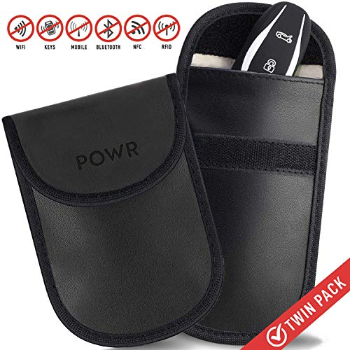 POWR RFID Keyless Go Schutz Autoschlüssel, 2 Stück, Antidiebstahlschlüsselanhänger, Faraday-Schlüsseltasche, blockiert RFID/WLAN/GSM/LTE, Universalschutz