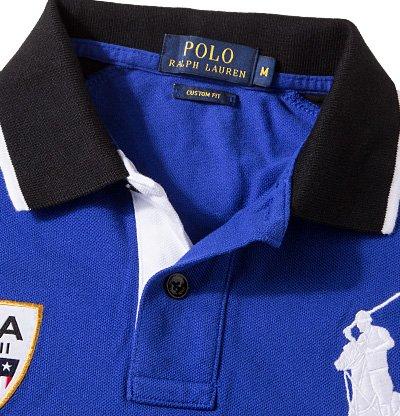 Polo Ralph Lauren Herren Polo-Shirt Baumwolle T-Shirt Unifarben mit Motiv, Größe: L, Farbe: Blau