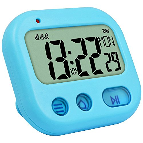 Digital Vibrate Timer Kids Alarm Clock Full Vision Display Bold Digits, Loud Volume, Countdown Up Pocket Timer Mini Travel Alarm Clock for Kitchen, Cooking, Sport, Classroom, Table Stand Blue