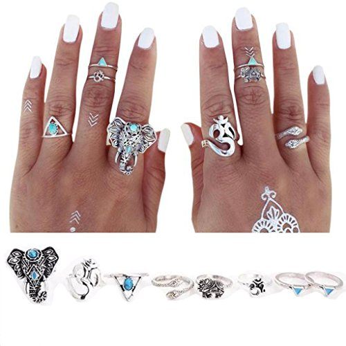 Aniywn Eight Pieces of Bohemian Elephant Design Mini Knuckle Ring Set Turquoise Rings (Free Size, (Lotus Elephant)